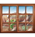 A closed window at the desert vector