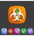 Ebola biohazard flat icon badge vector