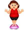 Fat woman cartoon very worried with her weight vector