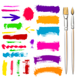 Brushes and grunge painted elements vector