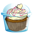 A cupcake inside the disposable container vector