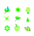 Floral icons green leaves tree apple flower vector