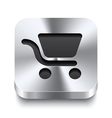 Square metal button - shopping cart icon vector