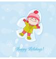 Christmas snow angel baby card vector