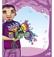 Young boy with flowers vector