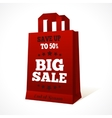 Red paper shopping bag emblem vector