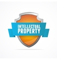 Intellectual property protect shield on white vector