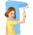 Woman paints the wall vector