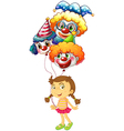A young girl holding three clown balloons vector
