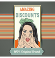 Retro of a beautiful woman and amazing discounts vector