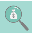 Magnifier and money bag flat design style vector