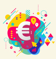 Euro sign on abstract colorful spotted background vector
