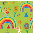 Kids and rainbow pattern vector