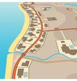 Angled beachfront vector