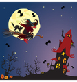 Witch and black cat flying on broom vector