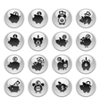 Piggy bank set icons on round gray button vector