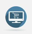 Circle blue icon laptop with shopping cart vector
