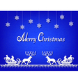 Santa claus paper silhouette blue background vector
