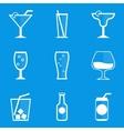 Blueprint icon set drink cocktail vector