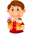 Little boy cartoon with ice cream vector