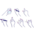 Hands using tablet media player stylus vector