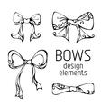 Set of hand-drawn bows vector