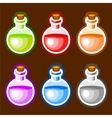 Round cartoon bottles liquids vector