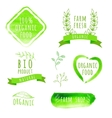 Set of watercolor organic food labels eco product vector