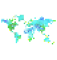 Abstarct world map green blue dots vector