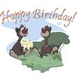 Bears happy birthday postcard vector
