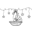 Hand drawn with hanging cradle and stars vector