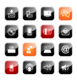Communication icon set glossy series vector