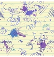 Scrawl and blot on school paper sheet seamless vector