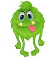 Cute hairy green monster cartoon vector