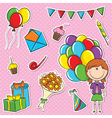 Girl with color balloons and birhday elements vector