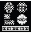 Celtic irish patterns and braids on black vector