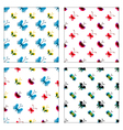 Set of seamless patterns of watercolor butterflies vector