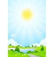 Green landscape with lake trees and clouds vector