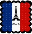 France flag and eiffel tower of paris background vector