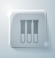 Bulb or beaker glass square icon with highlights vector
