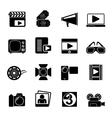 Silhouette movie and cinema icons vector