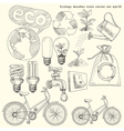 Ecology doodles icons set vector