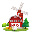 A sheep outside the red barnhouse vector