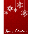 Red christmas background with hanging snowflakes vector