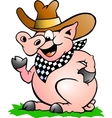 Hand-drawn of an pig chef that welcomes vector