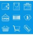 Blueprint icon set shop vector