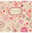 Retro floral birthday card vector