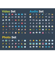 Photo video and audio icon set vector