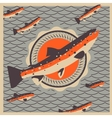 Salmon fish mascot in retro style background vector