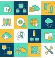 Network and server icon set vector